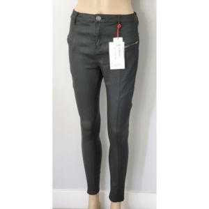 Cotton On Mid Rise Leather Look Black Jeans Sz 10